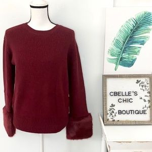 NWT Love Token Ribbed Faux Fur Sweater in Wine M